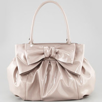 Double-Handle Lacca Bow Bag, Beige