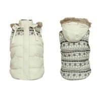ZLYC Snowflake and Aztec Print Quilted Gilet Jacket with Fur Hood for Girls