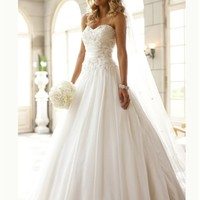 White A-line Sweetheart Beading Chiffon 2014 Wedding Dress IWG0274 -Shop offer 2013 wedding dresses,prom dresses,party dresses for girls on sale. #Category#