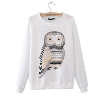 ZLYC 2013 New Autumn Casual Cute White Owl Print Beading Hoodies Pullover for Women