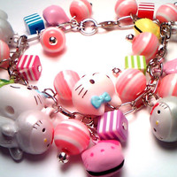 MEGA Hello Kitty Kawaii Cluster Charm Bracelet by Pendantmonium
