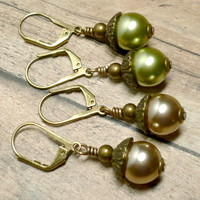 Acorn Earrings with Czech Olivine and Cocoa Glass Pearls- Two Pair Set