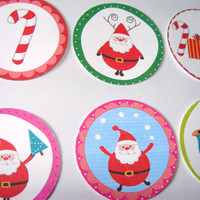Modern Santa Themed Stickers Or Envelope Seals Set of 22 Cute And Colorful