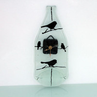 Fused glass  Wall clock  black bird Silhouette by virtulyglass