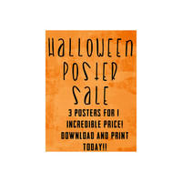 Halloween Wall Hanging Bundle Pack 3 Posters Instant Download