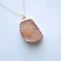 Druzy Necklace in Burnt Orange - Drusy Quartz