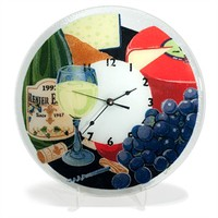 Peggy Karr Glass Wine and Cheese Round Clock at Von Maur