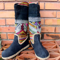 Womens Cowboy Boots In Jewel Toned Ethnic Laos Embroidery