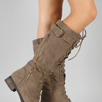 Cici Zipper Military Lace Up Knee High Boot