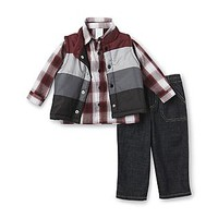 WonderKids  Infant & Toddler Boy's Shirt, Jeans & Vest - Plaid