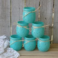 Painted Mason Jars Tiffany Blue by TheVintageArtistry on Zibbet