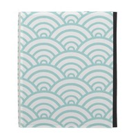 Tiffany Blue Scallop Pattern iPad Folio Cover