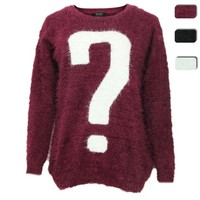 ZLYC Question Mark Fluffy Jumper in Mohair Mix for Women