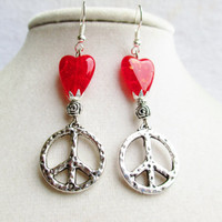 Dangly Silver Peace Signs & Red Crackle Glass Heart Earrings