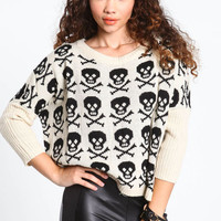CROPPED SKULL KNIT SWEATER