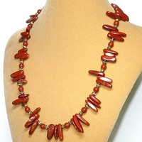 Red Jasper Antique Gold Bead 19.5 inch Necklace-Bracelet Set