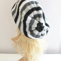 Black Gray White Striped Baggy Beanie Slouchy Hat