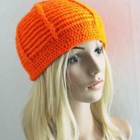 Hot Orange Hat Knitted Hat Beanie Hat, Chunky Slouchy Hat Pumpkin
