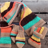 Knit set of baby hat, scarf, slippers and mittens green orange brown yellow