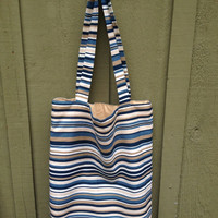Extra Large Stripe Canvas Tote for Beach / Luggage / Eco Friendly Grocery Tote