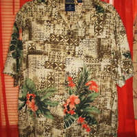 Amazing Vintage Hawaiian Shirt CARRIBEAN JOE  Tropical Islands 100% Silk  Size 2XL  Very Collectible