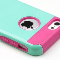 Pandamimi UlAK(TM) Hybrid Rubber Rugged Combo Matte TPU + PC 2-Piece Style Soft Hard Case Cover for iPhone 5C with Screen Protector and Stylus (Mint Green+Rose Pink)
