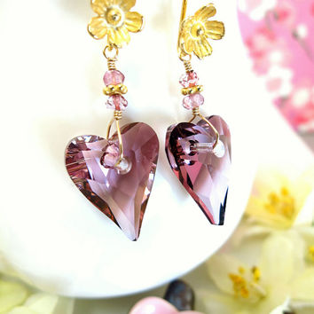 Antique rose Swarovski crystal heart cherry blossom gold earrings, rose pink heart sakura gold earrings