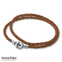 "Pandora 15"" Bracelet Brown Leather Sterling Silver"