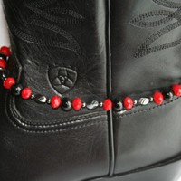 Black Agate Hematite & Red Crystal Beaded Boot Bling Anklet Bracelet