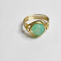 Green Dragon Veins Gemstone Agate Merlin's Gold Wire Wrapped Ring Sizes 1-14