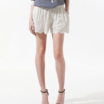 WHITE EMBROIDERED SHORTS - Shorts - Woman - ZARA United States