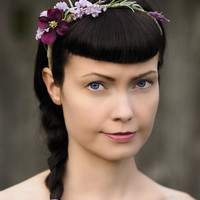 Rustic Wedding Headpiece with Flowers & Herbs - Lavender and Purple Headband, Head Wreath, Head Piece