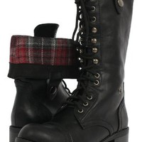 Women's Black Lace-up Combat Folded Cuff Riding Mid-Calf Boots Soda Oralee