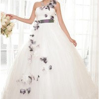 Unique Ball Gown One Shoulder Floral Wedding Dress With Waistband