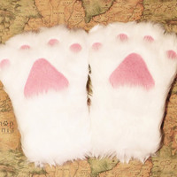 Cat PAWS / Cat Rabbit Bear MITTEN, White Long fur Paw , Cat glove Cosplay Costumes Party