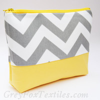 Gray chevron and yellow cosmetic bag, zipper pouch, gadget bag