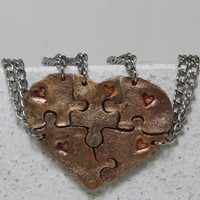 Heart Shaped Puzzle Set of 5 Bracelets Bronze Best Friend Bridesmaid Jewelry