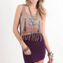Kirra Womens Graphic Fringe Tank