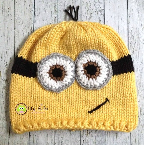 Knitted Minion Hat, FREE US Shipping! from lilyandbo Knitted