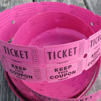 SALE Hot pink 2 part tickets / pink tickets / girl's birthday party tickets / raffle tickets / beer tickets / admit one tickets