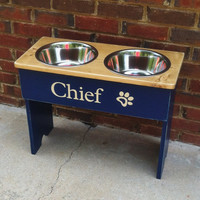 Raised Dog Bowl Shabby Stand Personalized  Large Two Tone- 18'' Tall - 2  3 Quart Bowls