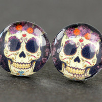 Sugar Skull Earrings : Skeleton, Candy Skull Stud Earrings, Fake Plugs, Cabochon, Glass, ArtisanTree, Summer, Day of the Dead, Bow, Cute