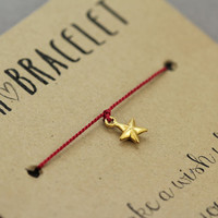 Star Bracelet : Wish Bracelet, Gold Plated, Delicate, Tiny, ArtisanTree, Friendship, Gift, Make a Wish, Good Luck, Red Silk