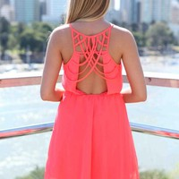 Coral Multi-Strap Back Detail Dress with Gathered Waist Deta