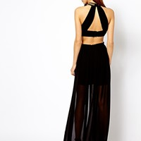 River Island High Neck Cut Out Back Maxi Dress