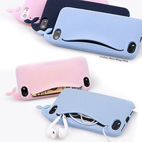 Cute Big Mouth Whale Rubber Card Holder Soft Case Cover for Apple iPhone 4 4S 5G
