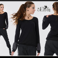 3Elfen longsleeve black puff grey