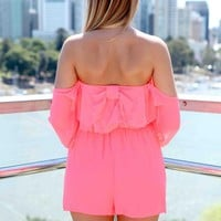 Pink Off The Shoulder Bow Back Playsuit