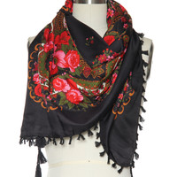 The Rosy Outlook Scarf in Black