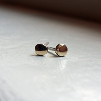 Palest Gold Tiny Pebble Earrings - Rustic Solid 10k Yellow Gold Studs